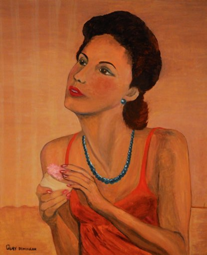 «Jeune femme devant son miroir»<br />Huile de <b>Yolande GUAY</b>- - thumb